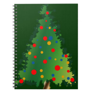 Spiral Notebook with Christmas Tree Decoration