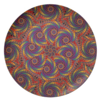 Spiral Octopus Psychedelic Rainbow Fractal Art Plate