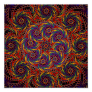 Spiral Octopus Psychedelic Rainbow Fractal Art Poster