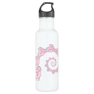 Spiral of Pink Elephants. Fun Cartoon. 710 Ml Water Bottle