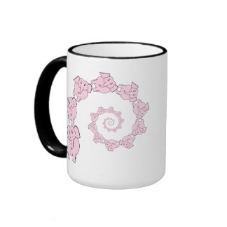 Spiral of Pink Elephants Fun Cartoon Coffee Mugs