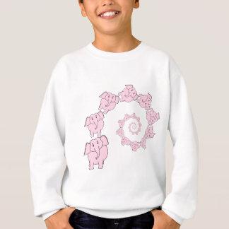 Spiral of Pink Elephants. Fun Cartoon. Sweatshirt