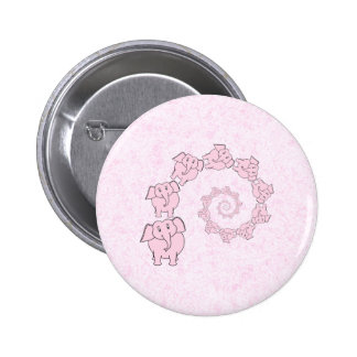 Spiral of Pink Elephants Pink Background Button