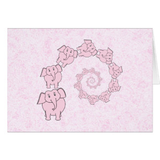 Spiral of Pink Elephants. Pink Background. Card
