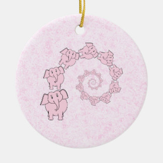 Spiral of Pink Elephants. Pink Background. Christmas Ornament