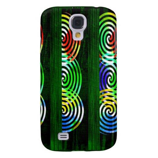 Spiral on Green Woodgrain Galaxy S4 Cover