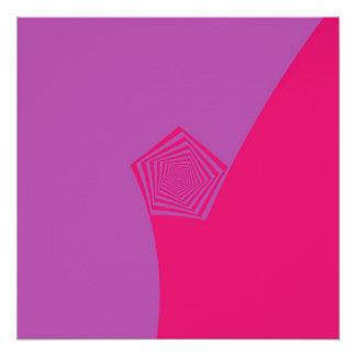 Spiral Pentagon in Pink and Violet Poster