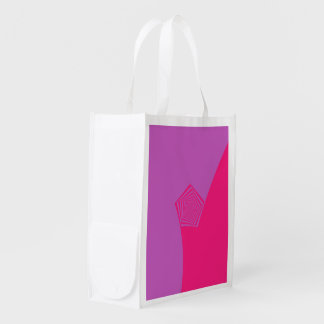 Spiral Pentagon in Pink and Violet Reusable Grocery Bag