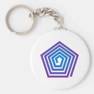 Spiral pentagon spiral Pentagon Basic Round Button Key Ring