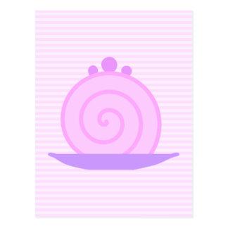 Spiral Pink Cake on Pink Stripes. Postcard