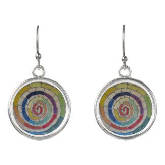 Spiral Rainbow Mosaic Earrings