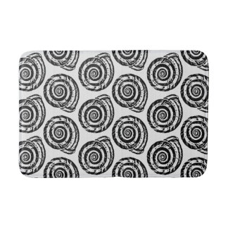 Spiral Seashell Block Print, Black and White Bath Mat