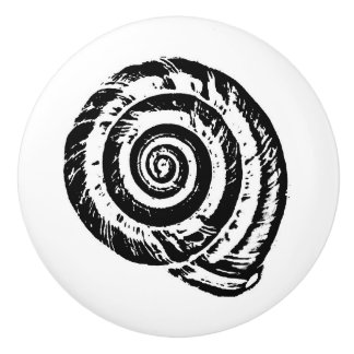 Spiral Seashell Block Print, Black and White Ceramic Knob