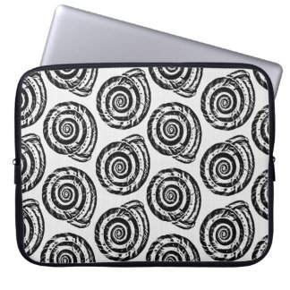 Spiral Seashell Block Print, Black and White Laptop Sleeve