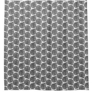 Spiral Seashell Block Print, Black and White Shower Curtain