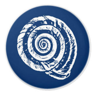 Spiral Seashell Block Print, Cobalt Blue and White Ceramic Knob