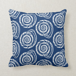 Spiral Seashell Block Print, Cobalt Blue and White Cushion