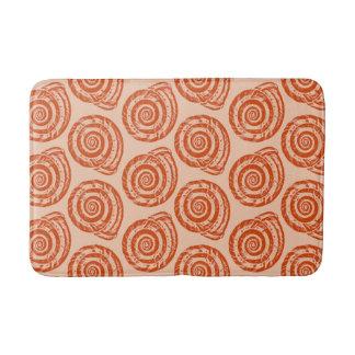 Spiral Seashell Block Print, Coral Orange Bath Mat