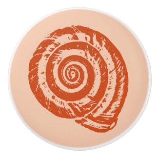 Spiral Seashell Block Print, Coral Orange Ceramic Knob