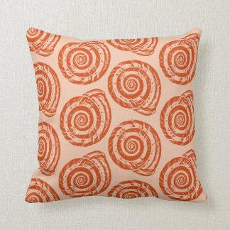 Spiral Seashell Block Print, Coral Orange Cushion
