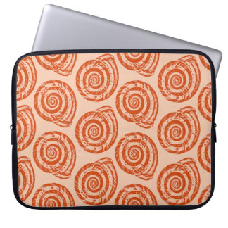 Spiral Seashell Block Print, Coral Orange Laptop Computer Sleeve