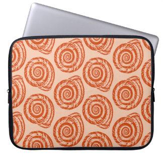 Spiral Seashell Block Print, Coral Orange Laptop Sleeve