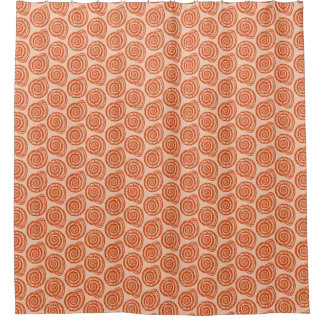 Spiral Seashell Block Print, Coral Orange Shower Curtain