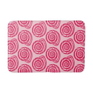 Spiral Seashell Block Print, Coral Pink & Fuchsia Bath Mat
