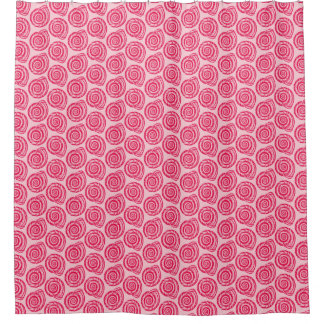 Spiral Seashell Block Print, Coral Pink & Fuchsia Shower Curtain