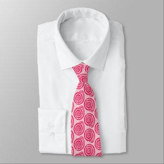 Spiral Seashell Block Print, Coral Pink & Fuchsia Tie