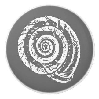 Spiral Seashell Block Print, Gray / Grey and White Ceramic Knob