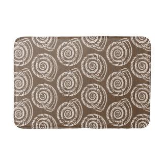 Spiral Seashell Block Print, Taupe Tan and Cream Bath Mat