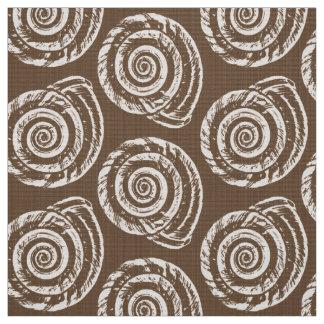 Spiral Seashell Block Print,Taupe Tan and Cream Fabric