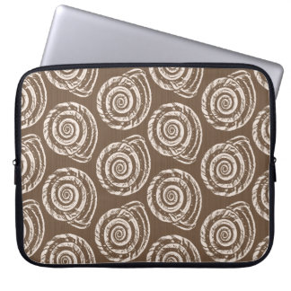 Spiral Seashell Block Print,Taupe Tan and Cream Laptop Sleeve