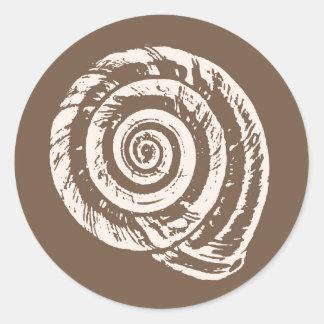 Spiral Seashell Block Print, Taupe Tan and Cream Round Sticker