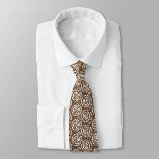 Spiral Seashell Block Print, Taupe Tan and Cream Tie
