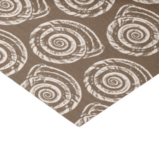 Spiral Seashell Block Print, Taupe Tan and Cream Tissue Paper