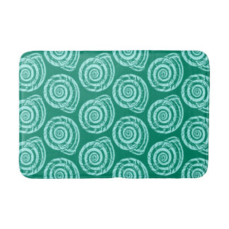 Spiral Seashell Block Print, Turquoise and Aqua Bath Mat