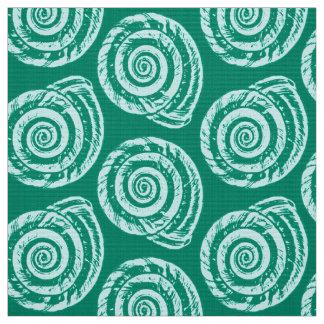 Spiral Seashell Block Print, Turquoise and Aqua Fabric