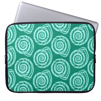 Spiral Seashell Block Print, Turquoise and Aqua Laptop Sleeve