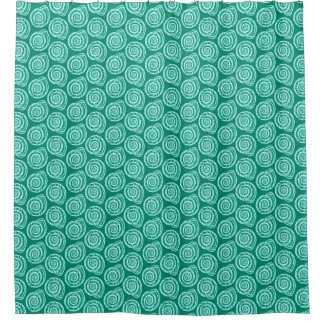Spiral Seashell Block Print, Turquoise and Aqua Shower Curtain