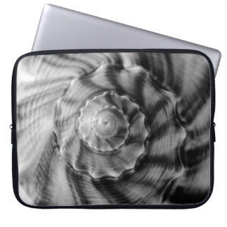 Spiral Shell, Black & White, Computer Sleeves