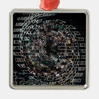 Spiral Silver-Colored Square Decoration