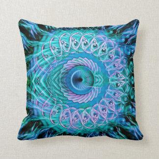 Spiral Splatter (bluey green) Cushion