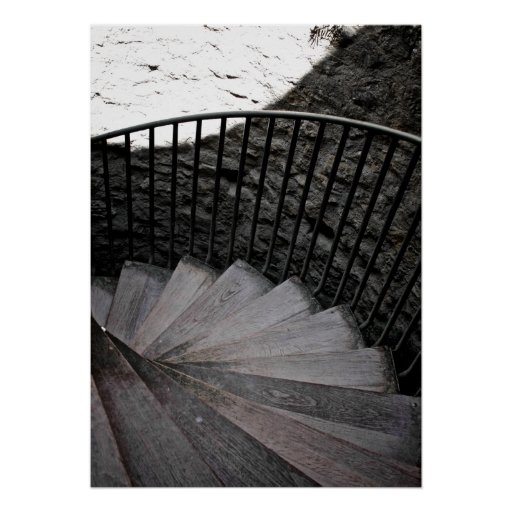 Spiral Staircase Black and White Poster