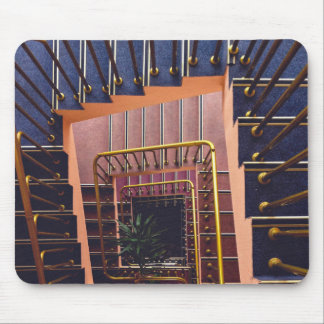 Spiral staircase with metal railing mouse pad