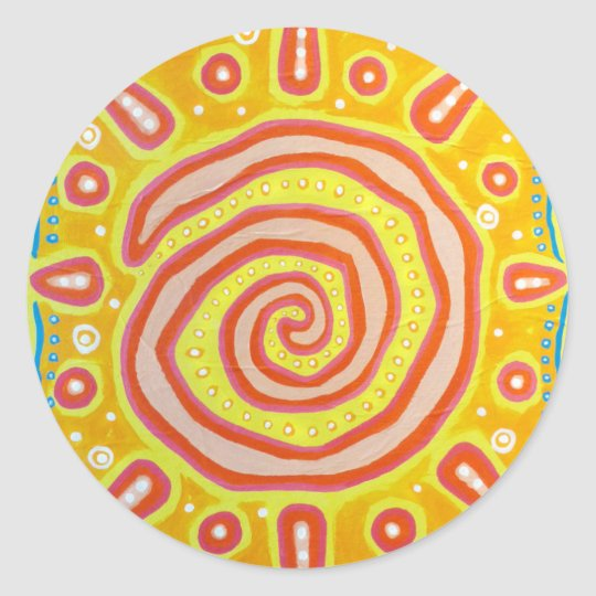 Spiral Sun Classic Round Sticker