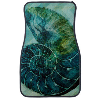 Spiral Turquoise Conch Shell Car Mat