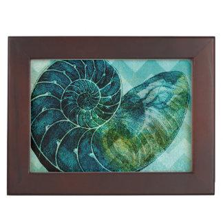 Spiral Turquoise Conch Shell Keepsake Box