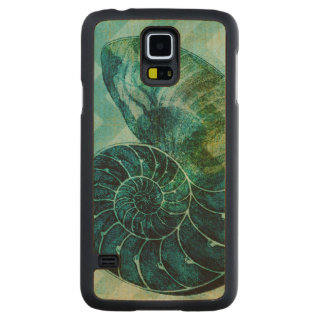 Spiral Turquoise Conch Shell Maple Galaxy S5 Case
